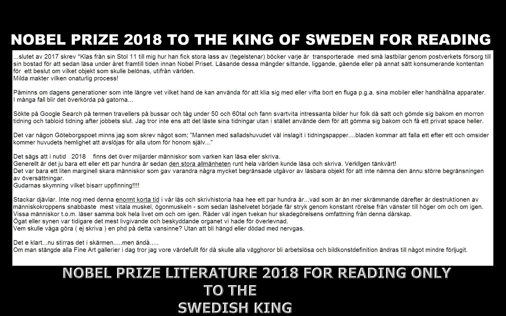 NOBEL PRIZE 2018 TO THE KING